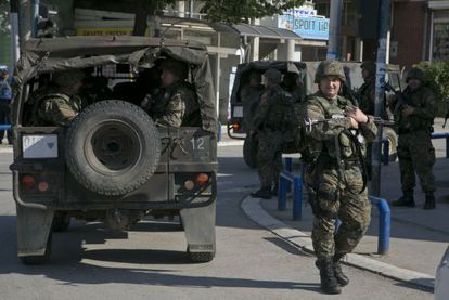 Despliegue policial en Kumanovo, este domingo.