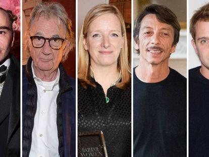 De izquierda a derecha, los diseñadores John Galliano, Paul Smith, Sarah Burton, Pierpaolo Piccioli y J. W. Anderson.