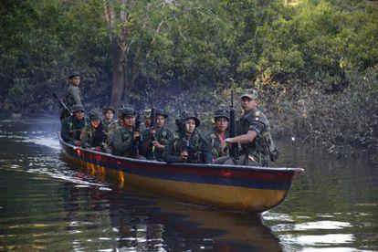 Un grupo de las FARC en la jungla de Putumayo, Colombia.