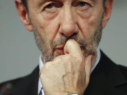 El candidato del PSOE a la presidencia del Gobierno, Alfredo Pérez Rubalcaba.