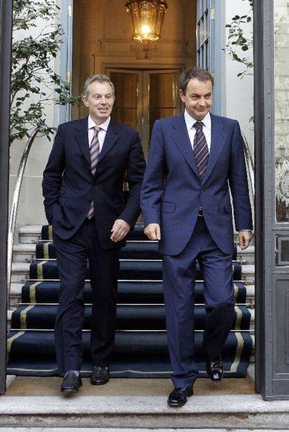 José Luis Rodríguez Zapatero con el entonces primer ministro británico Tony Blair, en 2006, durante una  visita del mandatario a Madrid.