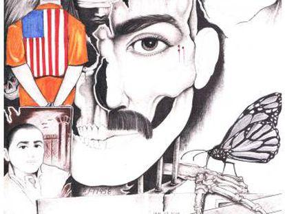 Uno de los dibujos de Edwin Martínez, durante su estancia en la prisión de Pelican Bay.