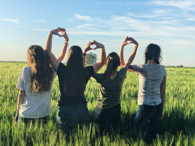 Cuatro adolescentes en el campo.