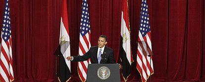 El presidente estadounidense, Barack Obama, durante su discurso en la universidad de El Cairo.