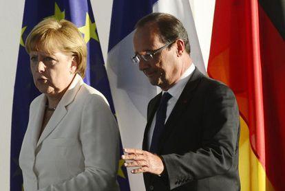 Angela Merkel y François Hollande en Berlín.