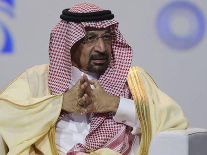 Khalid Al-Falih, ministro saudí de Energía, en la inauguración de Adipec.