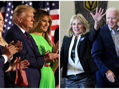El clan de Donald Trump y, a la derecha, la familia de Joe Biden.