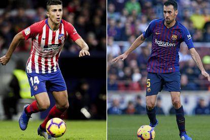 Rodri y Busquets controlan el balón en un partido con el Atlético y el Barcelona, respectivamente.