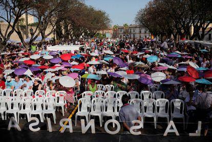 Seguidores de Unidos Podemos en un acto electoral en Jerez de la Frontera, el 23 de junio de 2016.