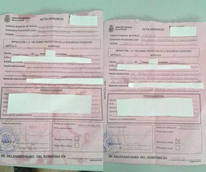 Actas de denuncia a dos prostitutas, puestas en la noche de este martes en el polígono de Marconi, en Madrid
