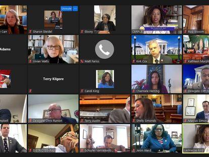 Captura de pantalla de una reunión entre diputados de Virginia ( EE UU), el 10 de febrero.