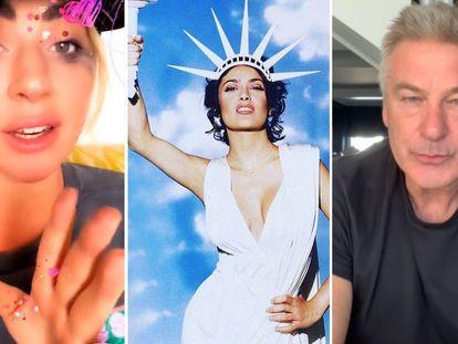 Lady Gaga, Salma Hayek y Alec Baldwin celebran la victoria de Joe Biden.