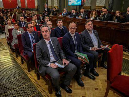 Los líderes independentistas juzgados por el 'procés', en el banquillo del Tribunal Supremo.