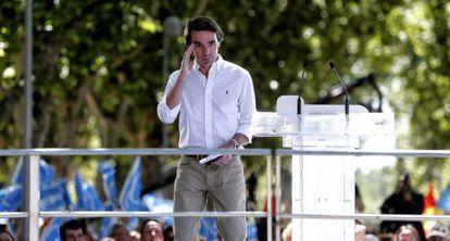 José María Aznar, en un acto electoral del Partido Popular.