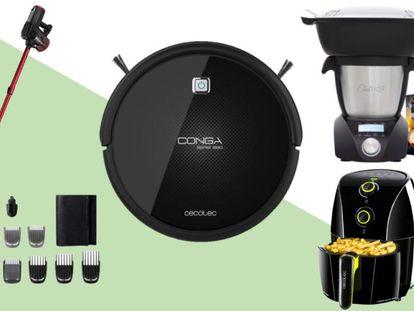 Varios productos para el hogar que se pueden adquirir en AliExpres, entre ellos: un robot aspirador Conga o una máquina de afeitar y recortadora eléctrica Philips.