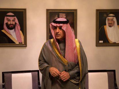 El ministro de Exteriores saudí durante la entrevista este viernes en Madrid.