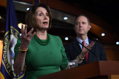 La líder demócrata en la Cámara de Representantes, Nancy Pelosi, y el congresista Adam Schiff, en Washington en octubre de 2019.