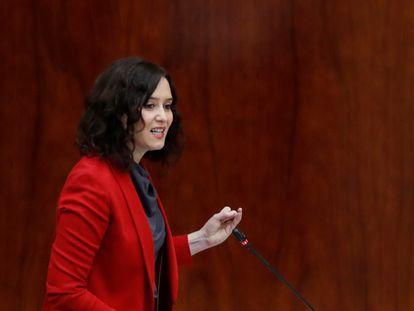 Isabel Díaz Ayuso, durante su intervención en el pleno de la Asamblea de Madrid este jueves.