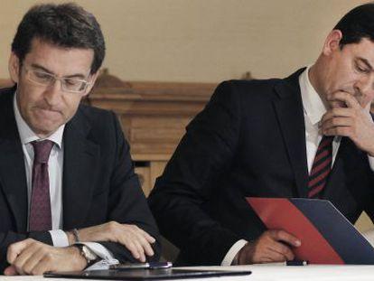 El presidente Feijóo y el líder socialista, Gómez Besteiro