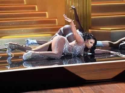 Un instante de la actuación de Megan Thee Stallion en los premios Grammy 2021, en Los Ángeles.