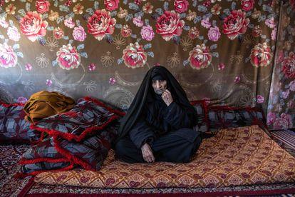 Hamde Fares, refugiada siria de 113 años, durante la entrevista el pasado 22 de abril.