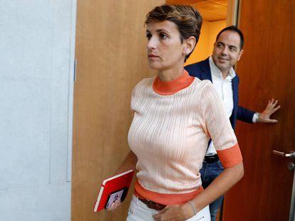 La candidata a la presidencia del Gobierno de Navarra, María Chivite (PSN), este lunes en el Parlamento de Navarra.