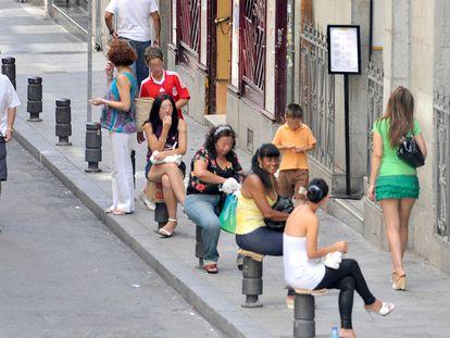 Una calle del centro de Madrid donde se ejerce la prostitución.