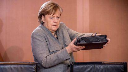 La canciller alemana, Angela Merkel, el pasado 12 de agosto durante una reunión de su partido en Berlín.