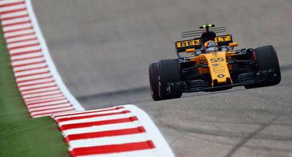 Carlos Sainz, durante sus primeros entrenamientos con Renault, en Austin.