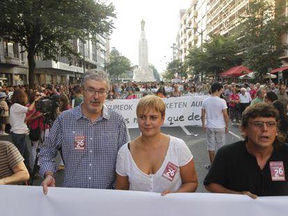 Los secretarios generales de ELA, Adolfo Muñoz, y LAB, Ainhoa Etxaide, en una manifestación en septiembre pasado.