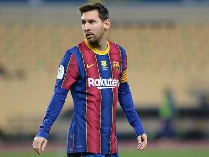 Messi, durante el pasado encuentro ante el Athletic, en la final de la Supercopa.