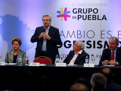 Presidentes y ex presidentes latinoamericanos durante una reunión del Grupo de Puebla en 2019.