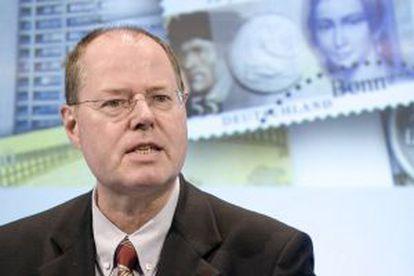 Peer Steinbrück en 2007, cuando era ministro de Finanzas, en Fráncfort.