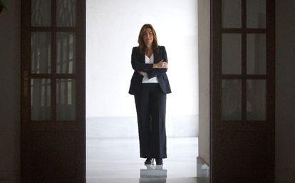 La consejera andaluza de la Presidencia, Susana Díaz, el pasado jueves tras la entrevista, en la sede del Parlamento autónomo.