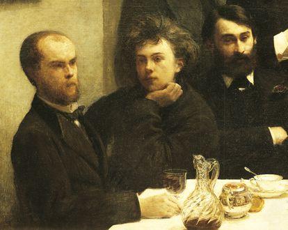 Desde la izquierda, los poetas Verlaine y Rimbaud y el botánico Bonnier, en un cuadro de Henri Fantin-Latour de 1872.