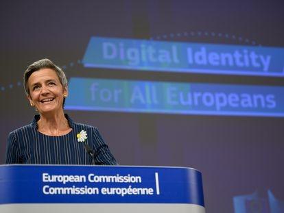 Margrethe Vestager, vicepresidenta de la Comisión, en la rueda de prensa el jueves 3 de junio.