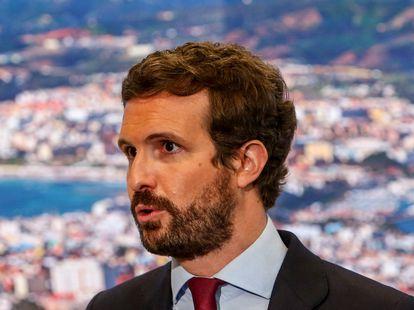 El presidente del PP, Pablo Casado, en la  Feria Internacional del Turismo, Fitur 2021.