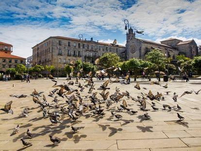 La plaza de la Herrería, en Pontevedra, una ciudad modelo en peatonalización.