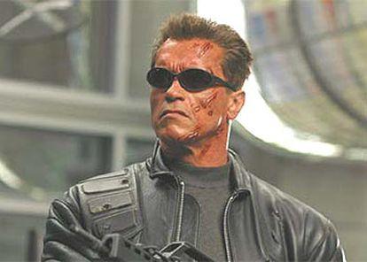Arnold Schwarzenegger, en el rodaje de la película Terminator III.