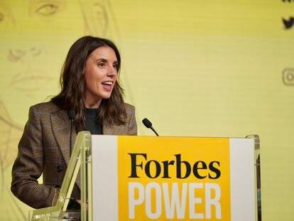 La ministra de Igualdad, Irene Montero, en el Forbes Summit Women 2021 celebrado este jueves Madrid.