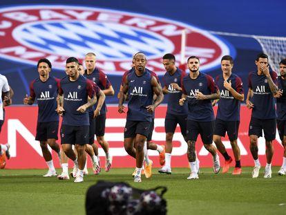 Los jugadores del PSG entrenan en el Estadio Da Luz, escenario de la final ante el Bayern.