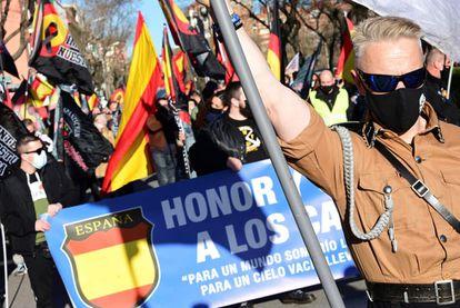 Marcha neonazi en homenaje a la División Azul celebrada el pasado día 13 en Madrid investigada por la Fiscalía por posible delito de odio.