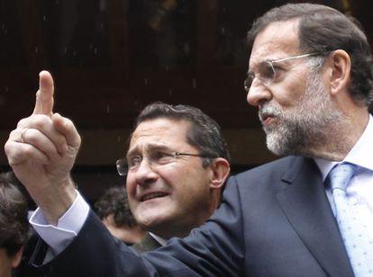 Conde Roa con Rajoy en un comité ejecutivo del PP celebrado en octubre en Santiago.