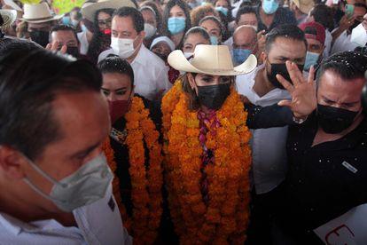 Evelyn Salgado, este jueves en un acto de campaña en la ciudad de Chilpancingo.