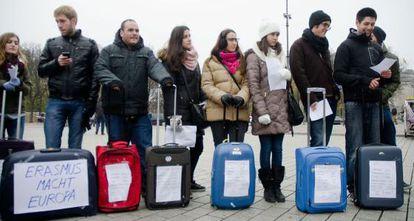 Protesta de estudiantes Erasmus este enero en Berlín por los recortes del ministerio.