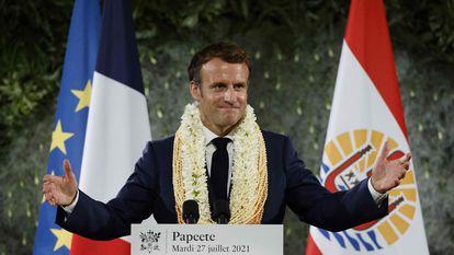 """El presidente francés, Emmanuel Macron, durante el discurso en Papeete, Tahití, en el que reconoció la """"deuda"""" de Francia con la Polinesia gala, el 27 de julio."""