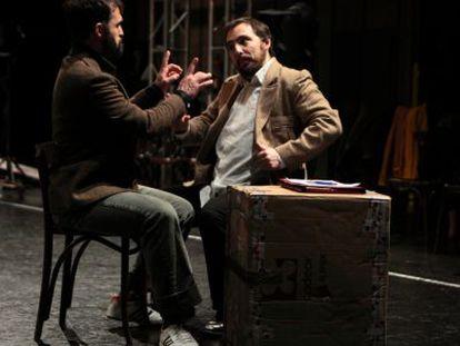 Un momento de los ensayos de 'La evitable ascensión de Arturo Ui'.