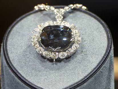 El diamante Hope, expuesto en el Museo Smithsonian de Washington (EE UU).