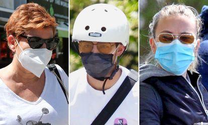 Terelu Campos, Joe Jonas y Scarlett Johansson, con sendas mascarillas.