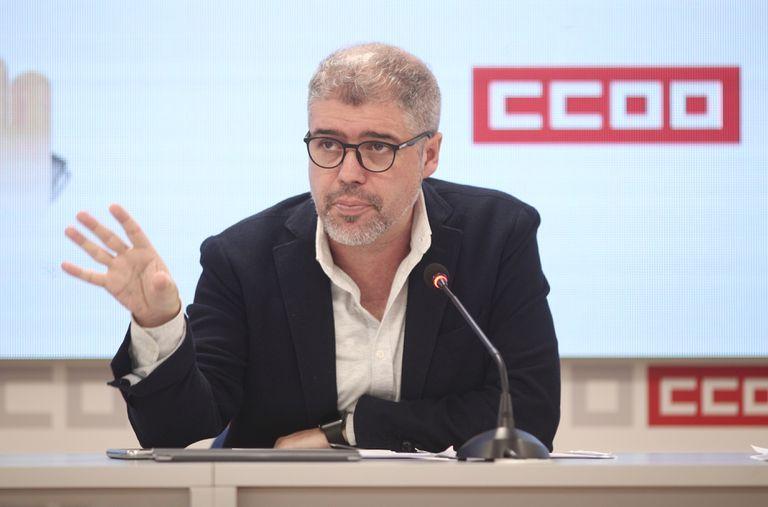 El secretario general de CC OO, Unai Sordo, en una imagen de una rueda de prensa.